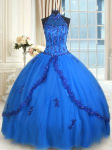 Traditional See Through Tulle Halter Top Sleeveless Lace Up Beading and Appliques Ball Gown Prom Dress in Blue