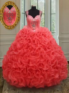 Stunning Straps Floor Length Zipper Party Dresses Coral Red for Military Ball and Sweet 16 and Quinceanera with Beading