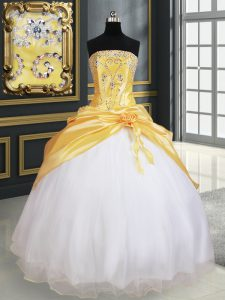 Luxury Pick Ups Ball Gowns Quince Ball Gowns Yellow And White Strapless Organza and Taffeta Sleeveless Floor Length Lace Up