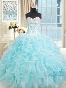 Lovely Floor Length Ball Gowns Sleeveless Light Blue Quinceanera Dresses Lace Up