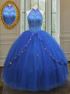 High Neck See Through Floor Length Royal Blue Sweet 16 Quinceanera Dress Tulle Sleeveless Beading and Appliques