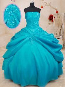 Hot Sale Sleeveless Lace Up Floor Length Appliques 15th Birthday Dress