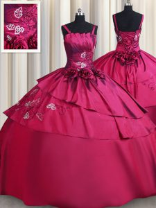 Best Burgundy Lace Up Straps Embroidery and Hand Made Flower Quinceanera Dress Satin Sleeveless
