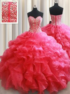 High Quality Coral Red Sleeveless Beading and Ruffles Floor Length Vestidos de Quinceanera