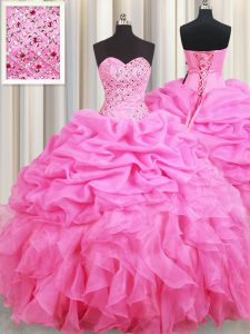 Flare Pick Ups Floor Length Ball Gowns Sleeveless Rose Pink Quinceanera Dresses Lace Up