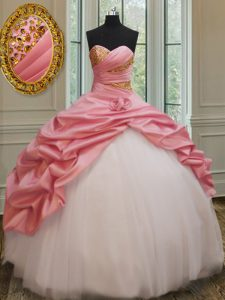 Sleeveless Beading and Pick Ups and Hand Made Flower Lace Up Quinceanera Dresses