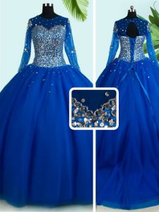 Scoop With Train Royal Blue Quinceanera Gowns Tulle Brush Train Long Sleeves Beading