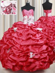 Noble Coral Red Sweetheart Lace Up Beading and Appliques and Sequins and Pick Ups 15th Birthday Dress Brush Train Sleeveless