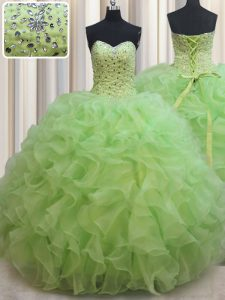 Floor Length Lace Up Sweet 16 Quinceanera Dress Yellow Green for Military Ball and Sweet 16 and Quinceanera with Beading and Ruffles