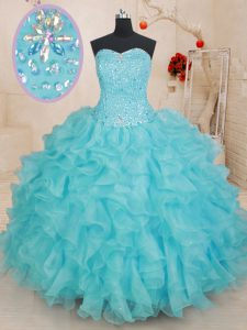 Delicate Aqua Blue Ball Gowns Organza Sweetheart Sleeveless Beading and Ruffles Floor Length Lace Up 15 Quinceanera Dress