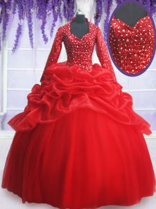 Deluxe Floor Length Red 15th Birthday Dress Organza and Tulle Long Sleeves Beading and Sequins and Pick Ups