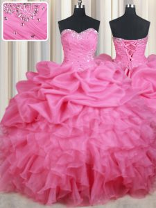Fancy Floor Length Rose Pink Quinceanera Gown Organza Sleeveless Beading and Ruffles and Pick Ups