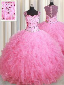 Straps Sleeveless Beading and Ruffles Zipper 15 Quinceanera Dress