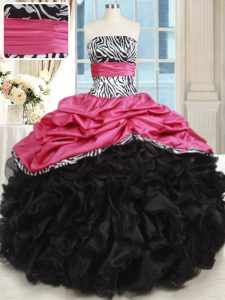 Pink And Black Strapless Lace Up Beading and Ruffles Quinceanera Gowns Sleeveless