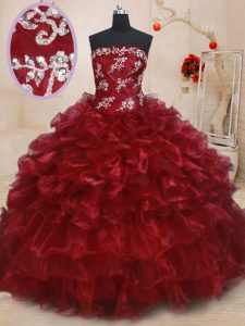 Beading and Ruffles and Ruffled Layers Vestidos de Quinceanera Burgundy Lace Up Sleeveless Floor Length