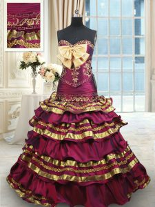 Simple Burgundy Sleeveless With Train Beading and Ruffled Layers and Bowknot Lace Up 15th Birthday Dress