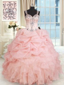 Low Price Straps Organza Sleeveless Floor Length Vestidos de Quinceanera and Beading and Ruffles and Pick Ups
