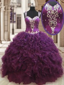 Straps Sleeveless Organza Floor Length Zipper Casual Dresses in Dark Purple with Beading and Ruffles