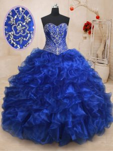 Sleeveless With Train Beading and Ruffles Lace Up Sweet 16 Dress with Royal Blue Brush Train
