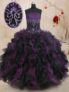 Perfect Ball Gowns Sweet 16 Quinceanera Dress Black And Purple Strapless Organza Sleeveless Floor Length Lace Up