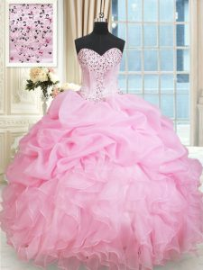 Rose Pink Sweetheart Neckline Beading and Ruffles and Pick Ups Vestidos de Quinceanera Sleeveless Lace Up