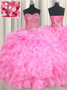 Rose Pink Lace Up Quince Ball Gowns Beading and Ruffles and Sequins Sleeveless Floor Length