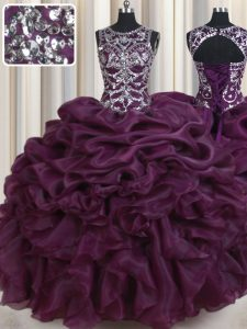Comfortable Scoop Sleeveless Floor Length Beading and Ruffles and Pick Ups Lace Up Quinceanera Gowns with Dark Purple