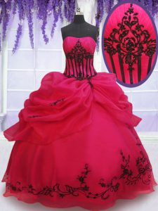 Sleeveless Organza Floor Length Lace Up Party Dress for Girls in Coral Red with Embroidery and Pick Ups