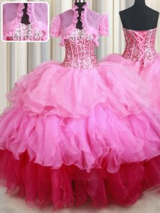 Inexpensive Rose Pink Ball Gowns Organza Sweetheart Sleeveless Ruffles and Sequins Floor Length Lace Up 15th Birthday Dress