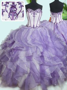 Captivating Beading and Ruffles Ball Gown Prom Dress White And Purple Lace Up Sleeveless Floor Length