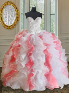 Pink And White Sleeveless Organza Lace Up 15 Quinceanera Dress for Military Ball and Sweet 16 and Quinceanera
