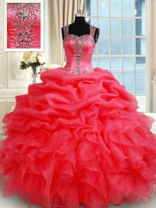 Straps Coral Red Organza Zipper Quinceanera Dresses Sleeveless Floor Length Beading and Ruffles and Pick Ups