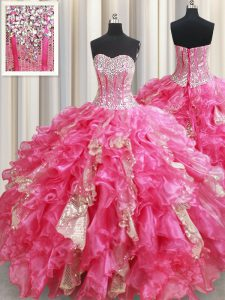 Flirting Sleeveless Floor Length Beading and Ruffles and Sequins Lace Up Quinceanera Gown with Hot Pink