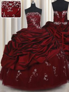 Glorious Floor Length Lace Up Vestidos de Quinceanera Wine Red for Military Ball and Sweet 16 and Quinceanera with Beading and Pick Ups