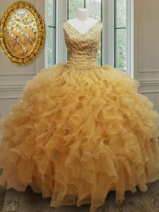 Dazzling Sleeveless Zipper Floor Length Beading and Ruffles Sweet 16 Quinceanera Dress