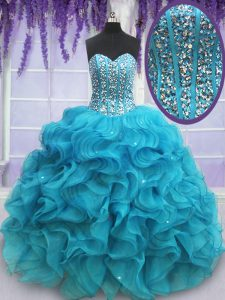 Sleeveless Floor Length Beading and Ruffles Lace Up Sweet 16 Quinceanera Dress with Teal