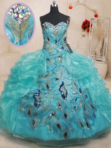 High Quality Teal 15th Birthday Dress Military Ball and Sweet 16 and Quinceanera with Beading and Embroidery and Ruffles Sweetheart Sleeveless Zipper