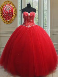 Top Selling Sweetheart Sleeveless Lace Up Sweet 16 Quinceanera Dress Red Tulle