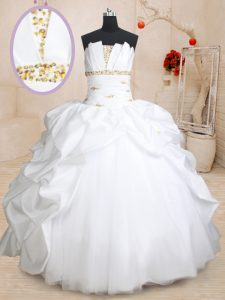 High Quality Scoallped Floor Length White Quinceanera Dresses Taffeta and Tulle Sleeveless Beading and Pick Ups