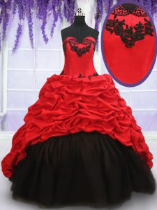 Red And Black Sweetheart Lace Up Appliques and Pick Ups Sweet 16 Dresses Brush Train Sleeveless
