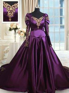Off the Shoulder Long Sleeves With Train Beading and Embroidery Zipper Sweet 16 Dresses with Dark Purple Chapel Train