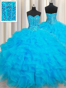 Fantastic Floor Length Lace Up Sweet 16 Dresses Baby Blue for Military Ball and Sweet 16 and Quinceanera with Beading and Ruffles