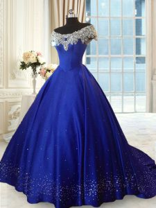 Off the Shoulder Ball Gowns Cap Sleeves Royal Blue Sweet 16 Dresses Lace Up