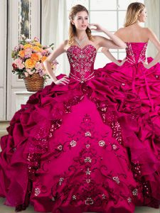 High End Floor Length Fuchsia Sweet 16 Dress Organza and Taffeta Sleeveless Beading and Embroidery and Pick Ups