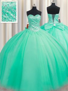 Ball Gowns 15th Birthday Dress Turquoise Sweetheart Tulle Sleeveless Floor Length Lace Up