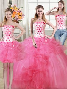 Super Three Piece Hot Pink Tulle Lace Up Strapless Sleeveless Floor Length Ball Gown Prom Dress Beading and Appliques and Ruffles