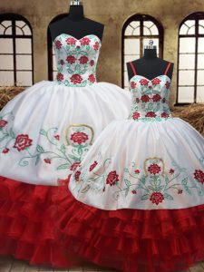 Charming White And Red Sleeveless Embroidery and Ruffled Layers Floor Length Quinceanera Gown
