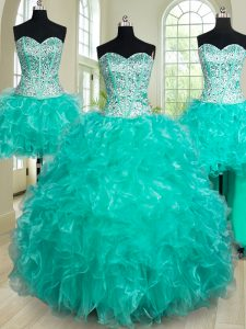 Fantastic Four Piece Sleeveless Floor Length Beading and Ruffles Lace Up Ball Gown Prom Dress with Turquoise