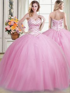 Rose Pink Sweetheart Lace Up Beading Sweet 16 Dress Sleeveless