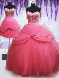 Glittering Three Piece Sleeveless Lace Up Floor Length Beading and Bowknot Quinceanera Gowns